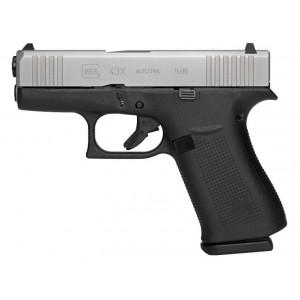 Glock G43X 9mm 10rd Silver Slide Handgun